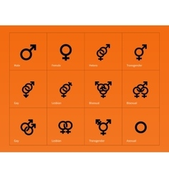 Male and female sex symbol icons on orange vector
