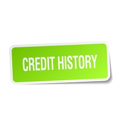 Credit history green square sticker on white vector