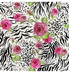 Animal skin and roses vector image