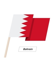 Bahrain Ribbon Waving Flag Isolated on White vector image