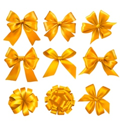 big set of gold gift bows with ribbons vector image