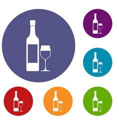 bottle of wine icons set vector image vector image