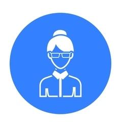 Business woman icon black single avatarpeaople vector