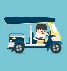Businessman driving three-wheeler tuk tuk taxi tha vector