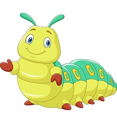 Cartoon funny caterpillar presenting isolated vector