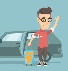 Caucasian man traveling by car vector