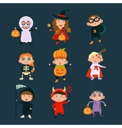 Children Wearing Halloween Costumes vector image vector image