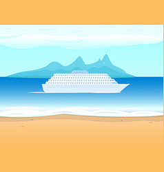 Cruise ship liner on the background sea vector