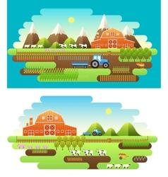 Flat farm in village set sprites and tile sets vector