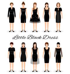 group of women in little black dresses set of vector image vector image