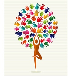 India yoga hands tree vector image