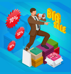 Isometric man with loudspeaker e-commerce vector