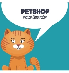 kitty with bubble speech pet shop icon vector image