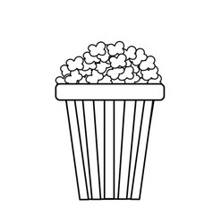 Line delicious and salty popcorn to eat in the vector