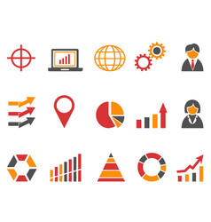 orange red color business infographic icons set vector image vector image
