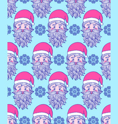 pattern with hand drawn head of santa vector image