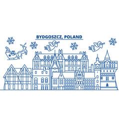 Poland bydgoszcz winter city skyline merry vector