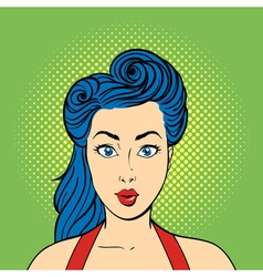 pop art surprised woman face Retro style vector image vector image