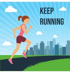 Running woman poster vector