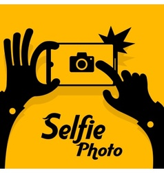 Selfie phonein yellow vector image vector image