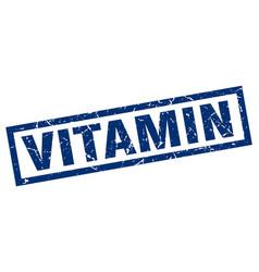 Square grunge blue vitamin stamp vector