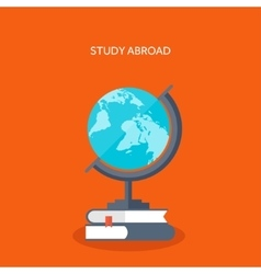 Study Globe with books vector image vector image