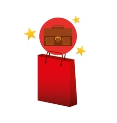 suitcase red bag gift star design vector image vector image