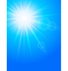 Sun in the sky cold blue background vector