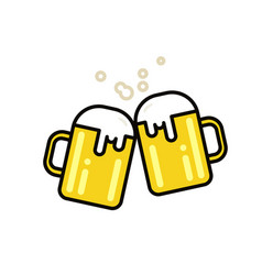 Two mugs of beer flat line vector