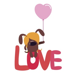 Valentine design with cute dog vector