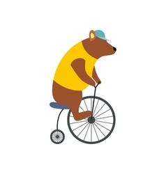Vintage bear on bike icon vector