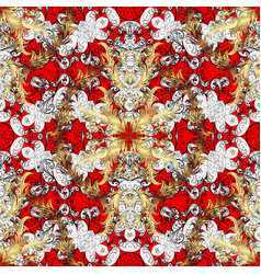 vintage pattern on red background with white vector image