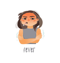 Young sick girl flat suffering from fever vector