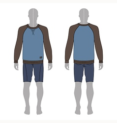 Figure in a sweatshirt and skinny shorts template vector