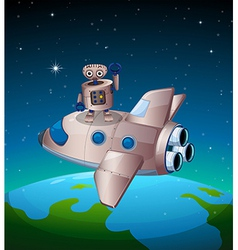 A robot above the spaceship vector image