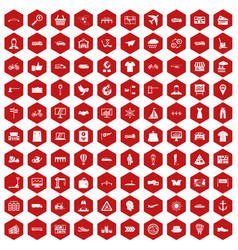100 logistic and delivery icons hexagon red vector image