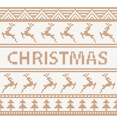 Christmas knitted pattern with deers vector