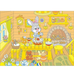 Easter bunny cooks a holiday cake vector