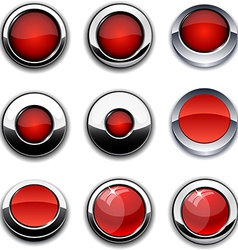 Red round buttons with chrome borders vector