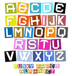 Colorful paper cut funky alphabet vector