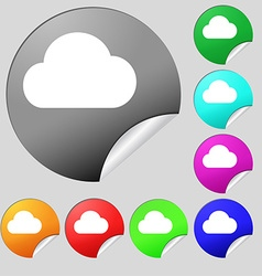Cloud icon sign set of eight multi-colored round vector
