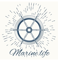 Helm and vintage sun burst frame marine life vector