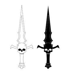 Ritual dagger sharp blade with skull contour vector