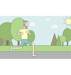 Caucasian hipster man jogging in the park vector