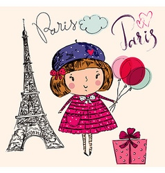 Girl in Paris color vector image