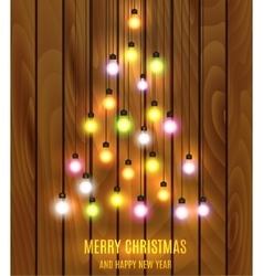 Christmas bulb lights arranged of christmas tree vector