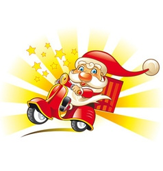 santa claus on scooter vector image