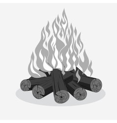 Bonfire camping burning woodpile vector