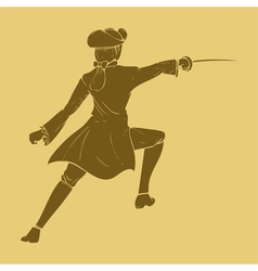 Seventieth century swordsman in carved style vector