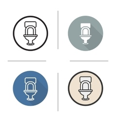Toilet flat design linear and color icons set vector